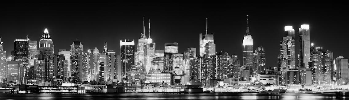 dekorationsmaterial banner new york skyline by night. Black Bedroom Furniture Sets. Home Design Ideas
